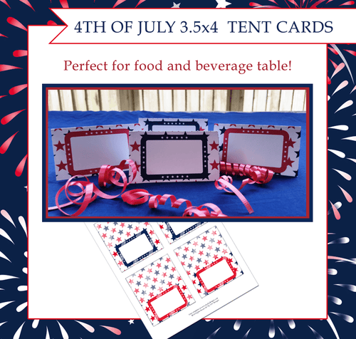 4th of July Printable Tent Cards | Creative By Design Group