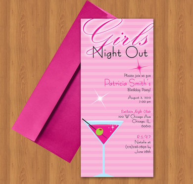Microsoft Word Girls Night Out Martini Glass Invitation Template