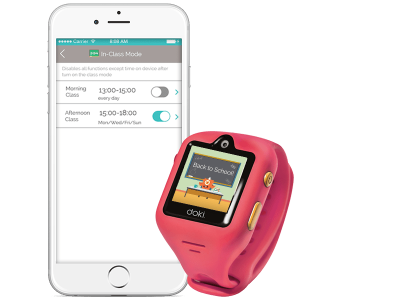 Set dokiWatch S to class mode to prevent your child from playing during class