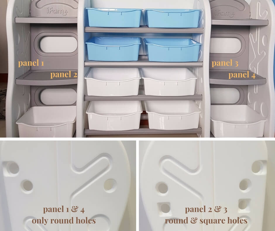 Take note of different panels for bigger toy organizers
