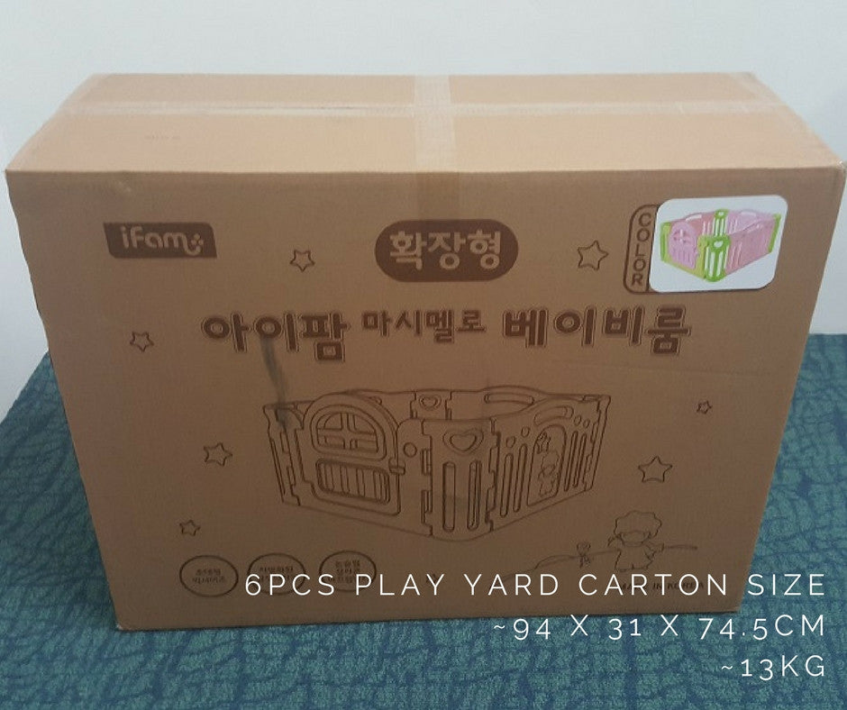 Marshmallow play yard cartons weigh 13kg