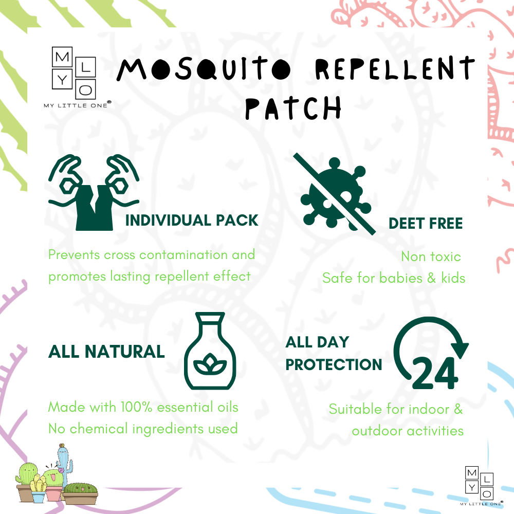 MyLO Mosquito Repellent Patch Made of 100% Plant-Based Ingredient, Safe For Baby and Kids