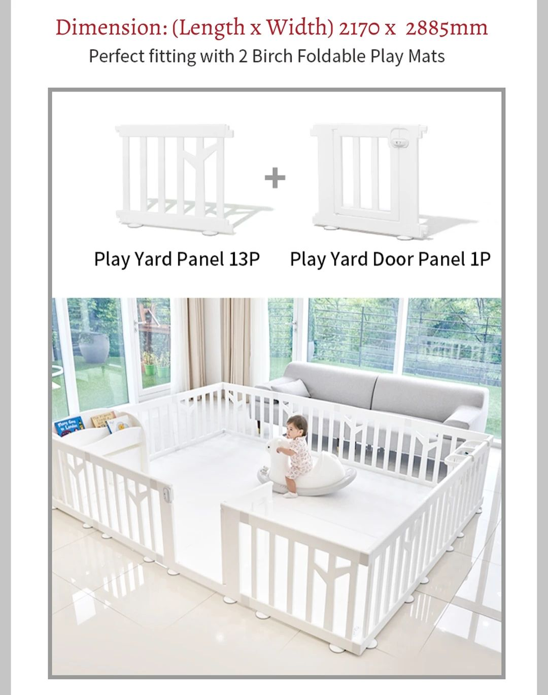 birch play yard 14pcs dimension