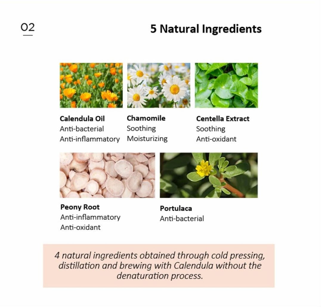 5 natural ingredients are derived by cold-pressing method