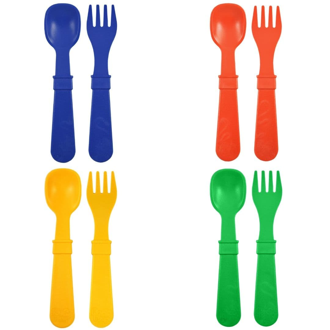 Re-Play Spoon & Fork Set Primary
