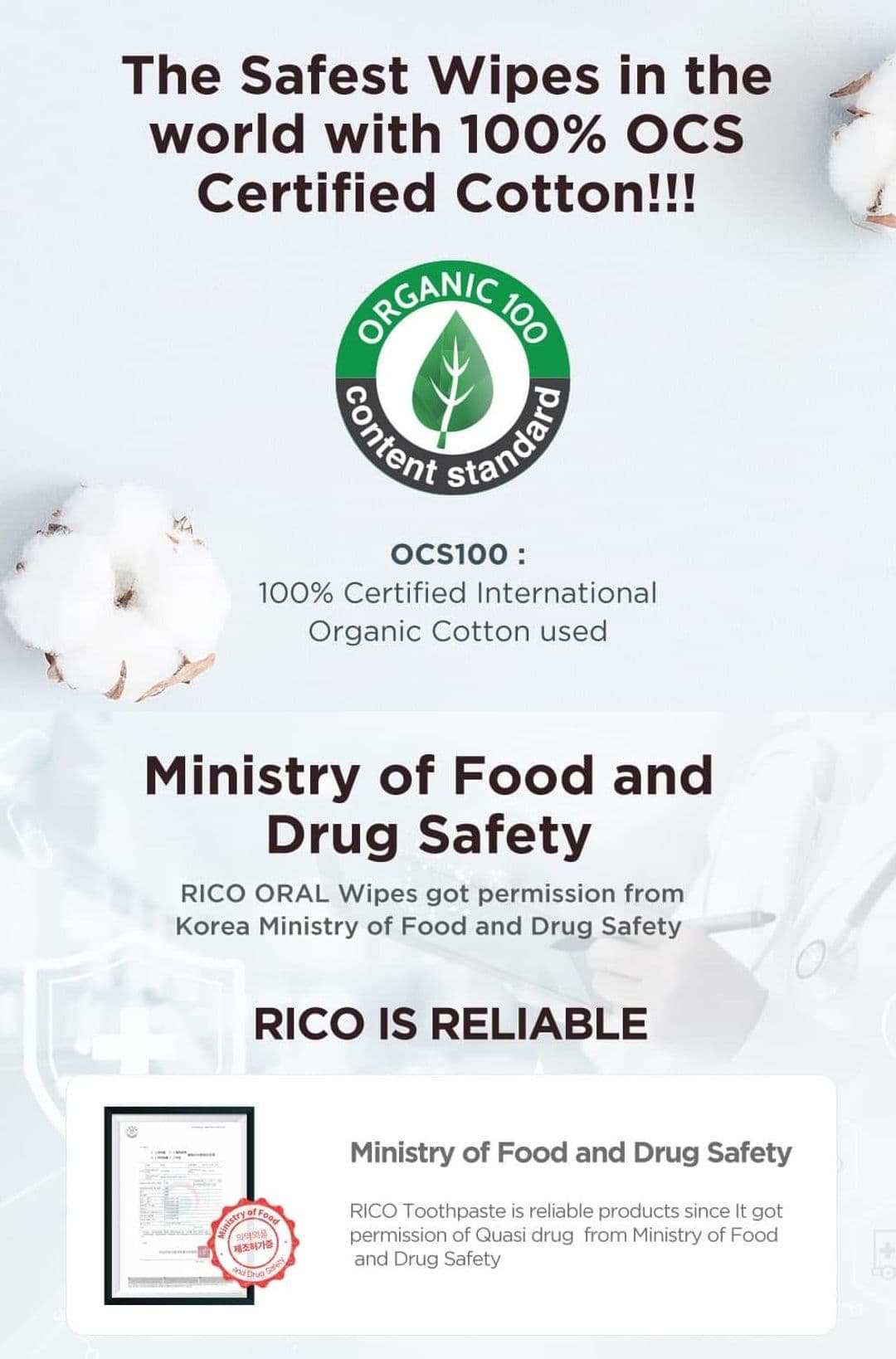 Rico Baby Oral Wipes Certification