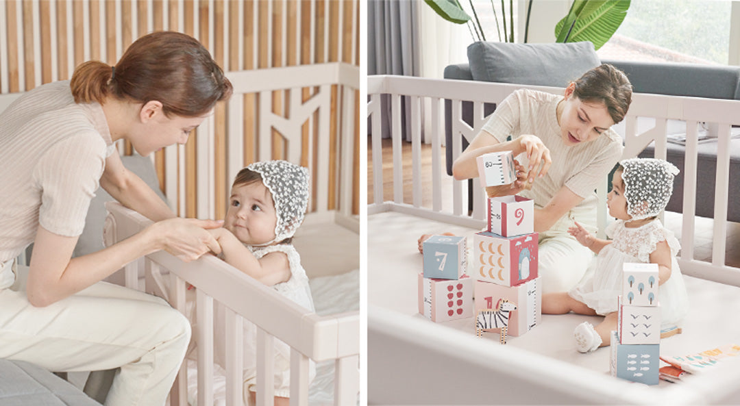birch baby play yard beige lifestyle
