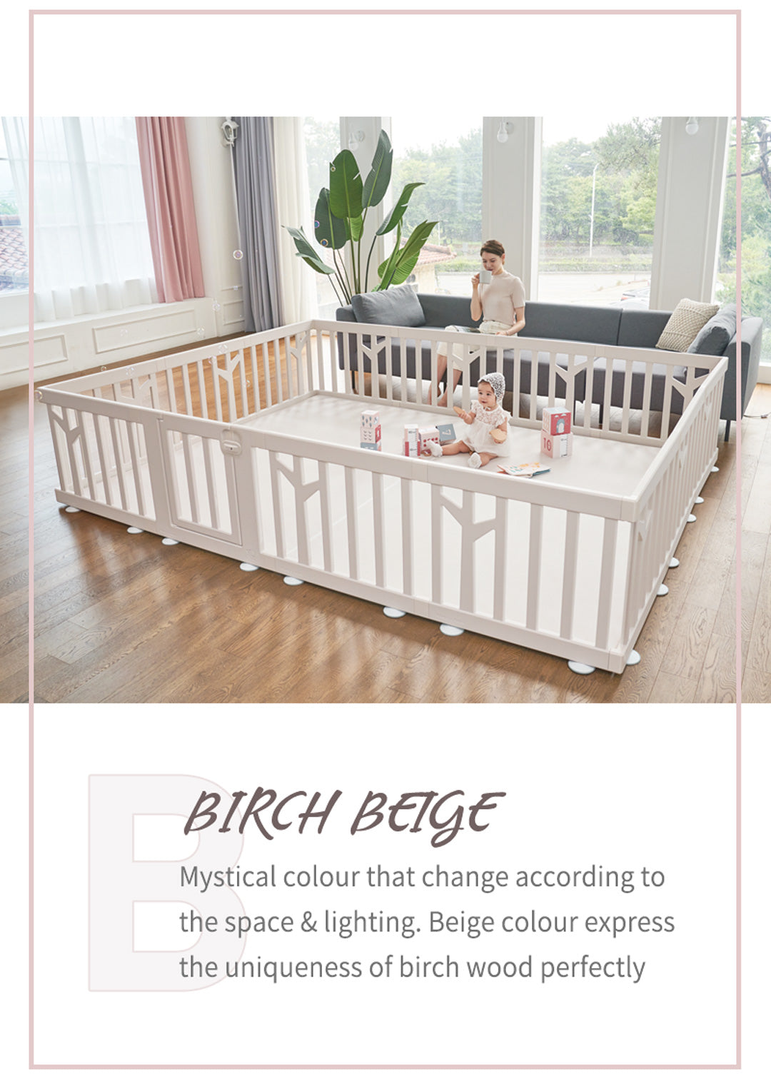 birch baby play yard beige