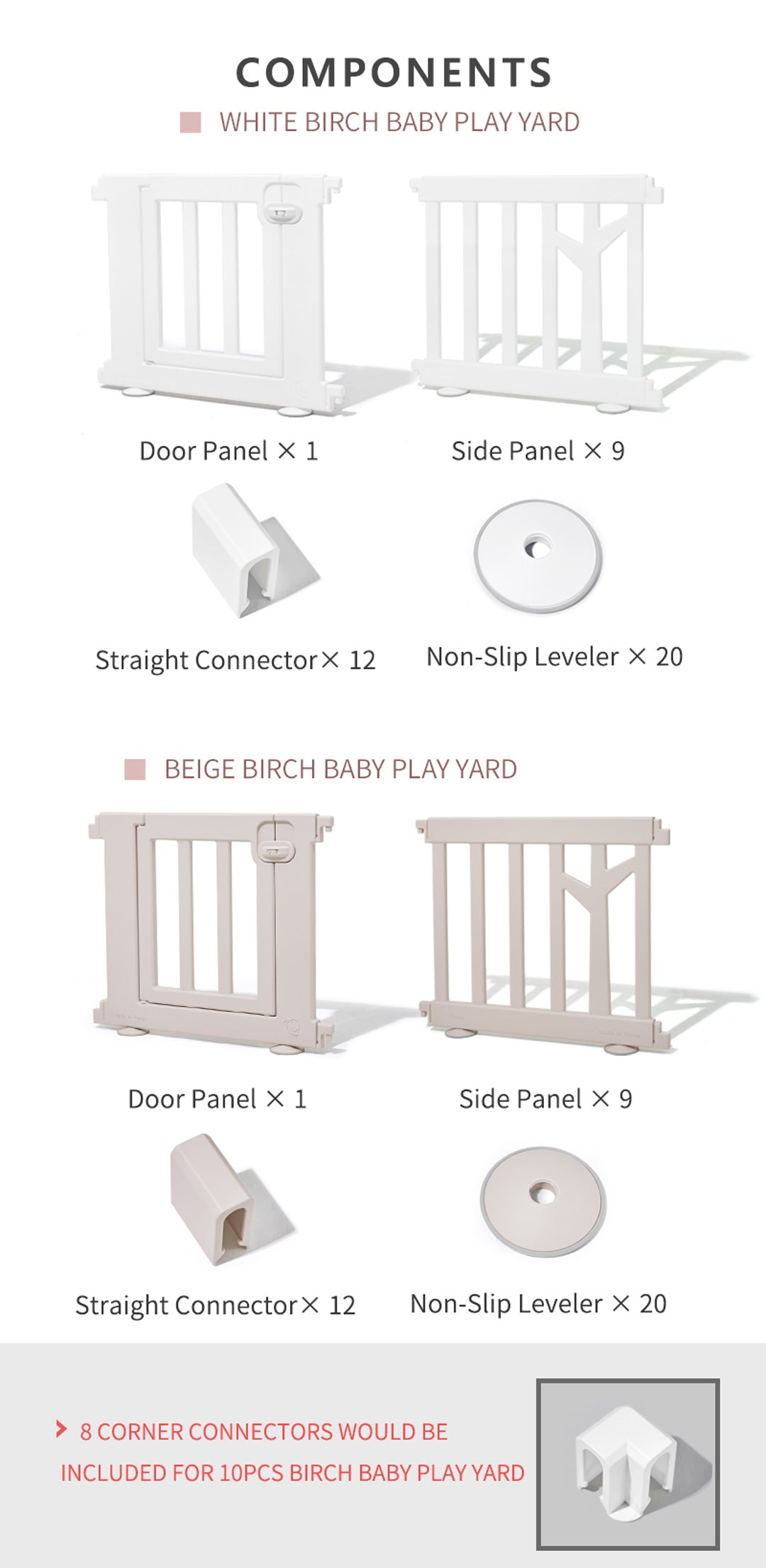 Birch Baby Play Yard Components