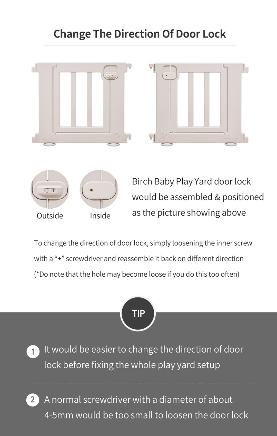 Birch Play Yard Door Lock Change Direction