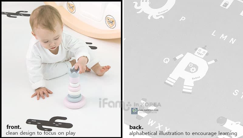 Both side usable play mat with different design for different room