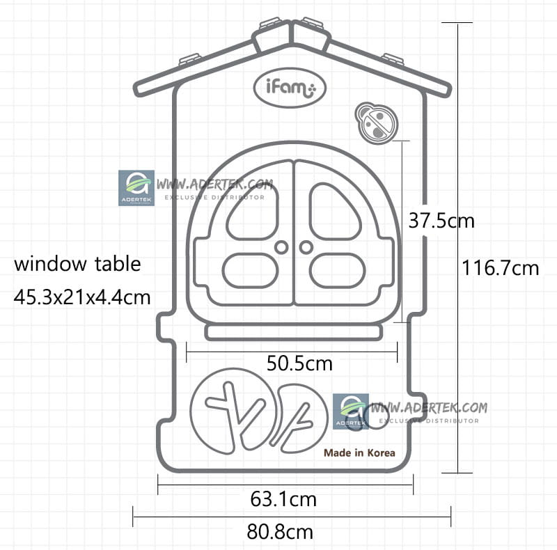 Dimensions of IFAM Play Yard House Panel