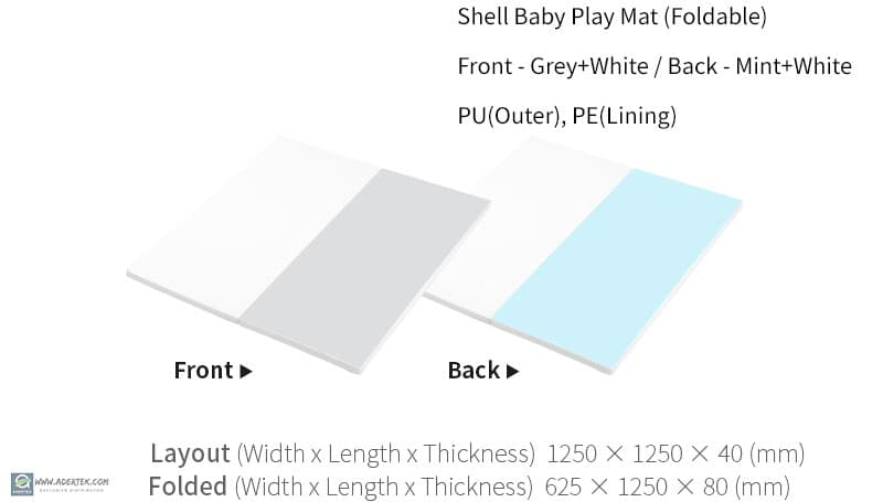 Shell Baby Play Mat (Foldable) Dimension - 125x125x4cm