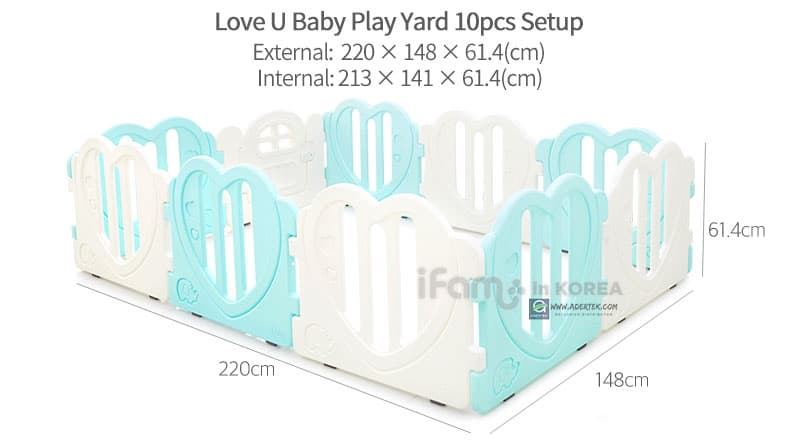 LOVE U Baby Play Yard 10pcs setup dimension