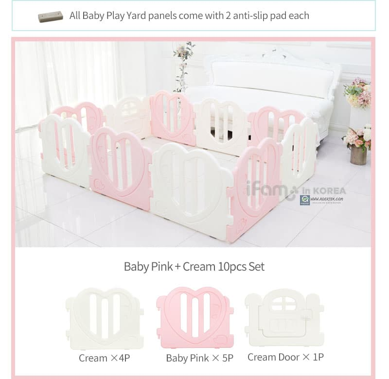 LOVE U Baby Play Yard with Door 10pcs Set - Pink