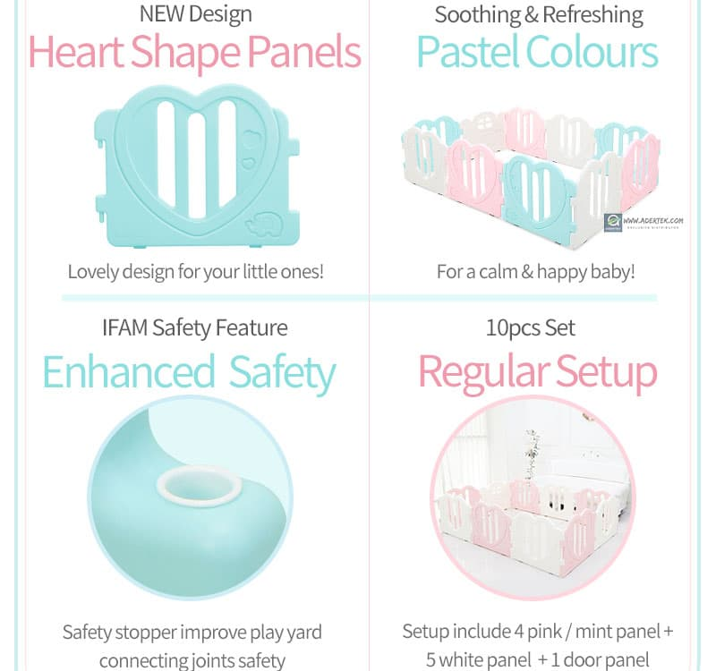 Heart shape panels in pastel colours, enhanced safety and each set comes with a door