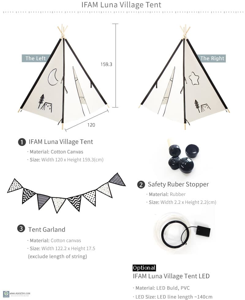 Components of 1 set Luna Village Tent