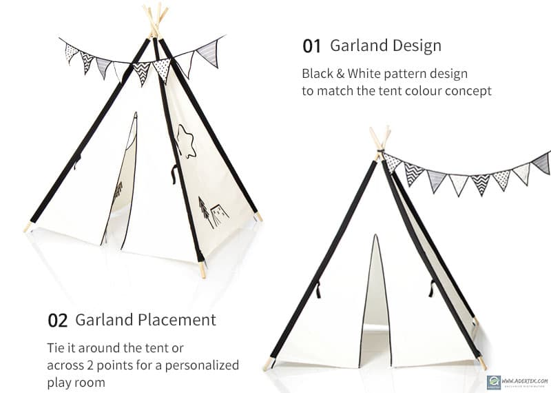 Beautify play room or Luna Village Tent with a simple garland (included in package)