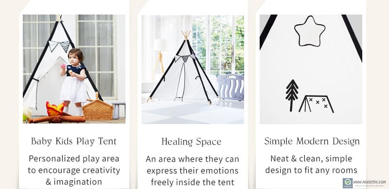 Simple, modern, kids play tent for a personal space at home