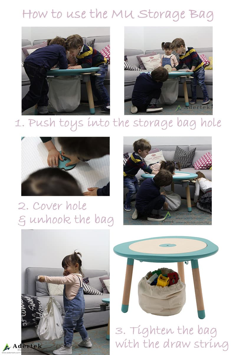 How to use MUtable Toy Storage Bag with MUtable children's activity play table