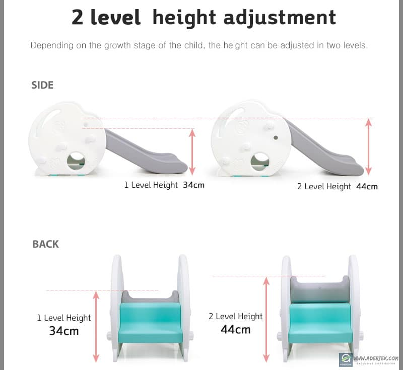 Adjustable slide height at 34 or 44cm to grow with your baby!
