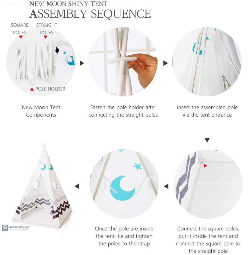 Assembly guide for New Moon Shiny Tent in 5 steps