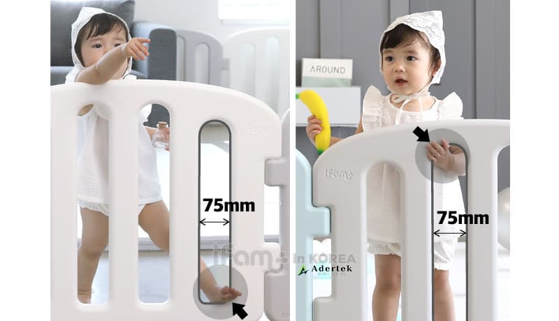 Enhanced baby safety with wider gap and lower steps on play yard panels