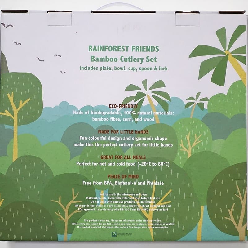 Rainforest Cutlery Set packaging back view