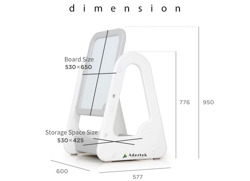 Dimension of EASY Magnetic Whiteboard 600x577x950mm