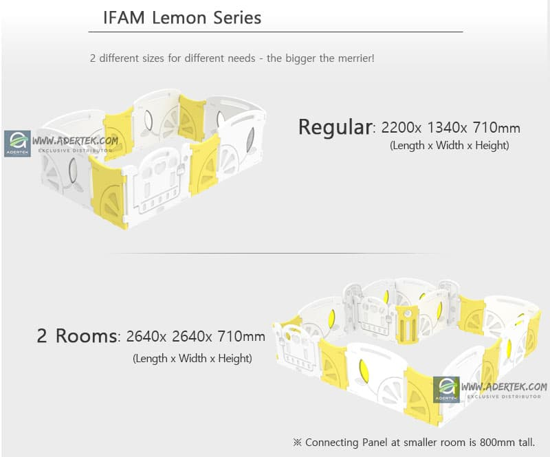 IFAM Lemon Baby Play Yard comes in 2 configurations for different play area size