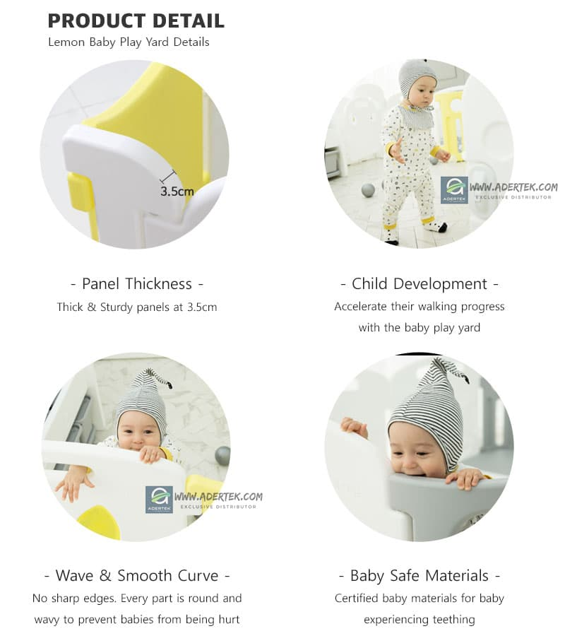 IFAM Lemon Baby Play Yard comes in 3.5cm thick panels to assist baby walking development. Made of baby-safe raw materials.
