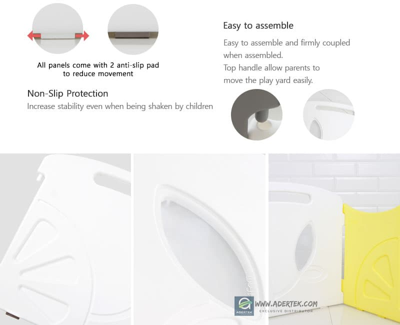 IFAM baby play yards come with anti-slip pads and are easy to assemble.
