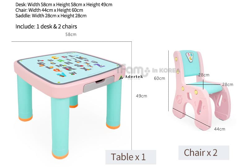IFAM Marshmallow children plastic table and chairs dimension for toddlers