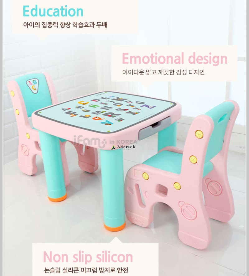 Marshmallow Childrens Table & Chair Sets with Alphabet prints