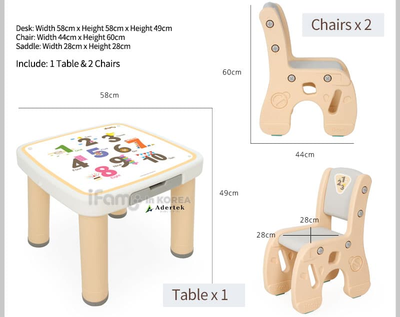 IFAM Marshmallow kids plastic table and chairs dimension