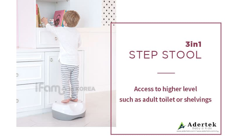 Step stool to access higher toilet bowl and shelvings