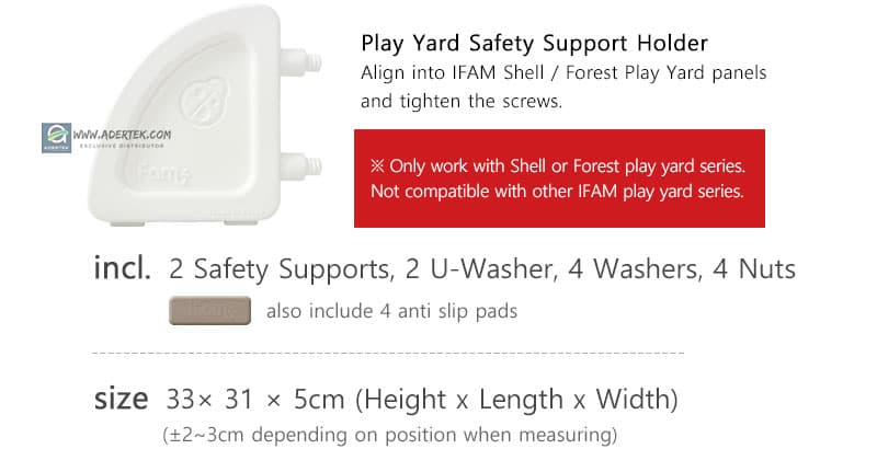 Play Yard Safety Support Holders Dimension