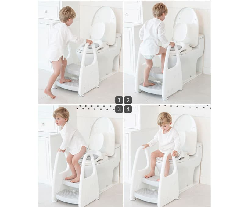 Safety during potty training on adult size toilet bowl
