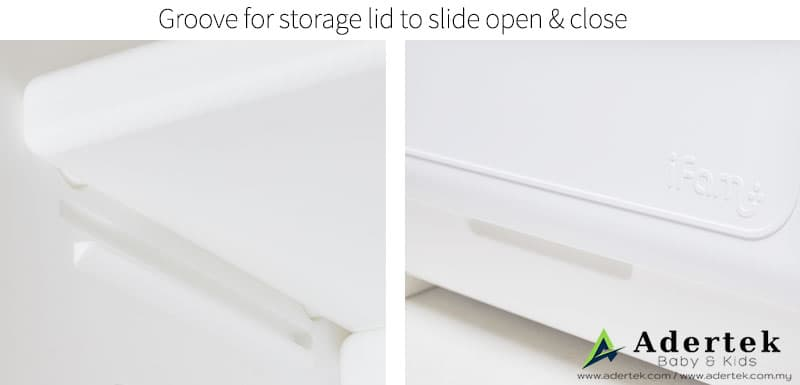 Storage cover sliding groove