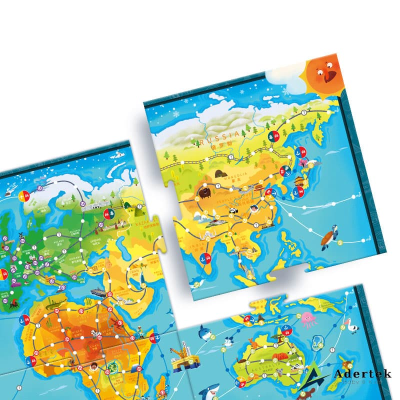 Travel Around The World, World Map Puzzle for Kids