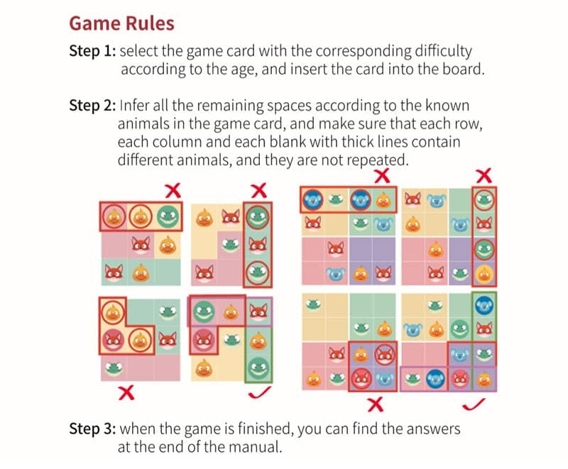 Magnetic Sudoku Animal Apartment  Game Rules