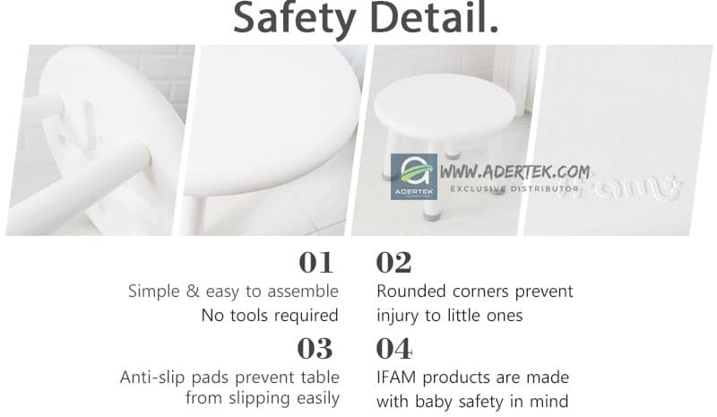 Safety feature of IFAM Easy table and stool set