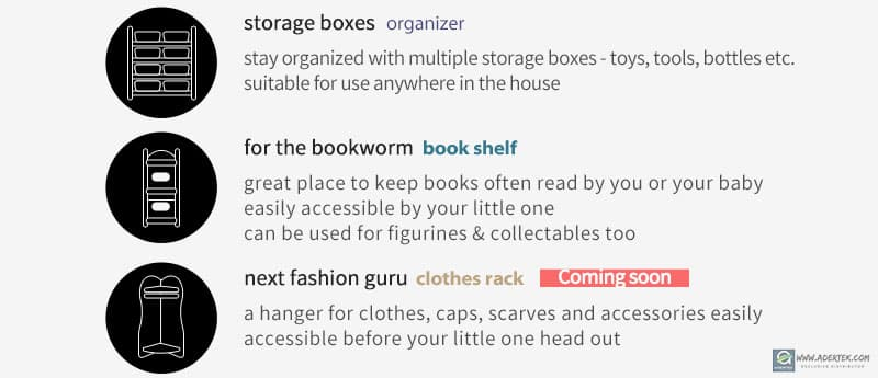 Combination of bookshelf, storage basket and clothes hanger