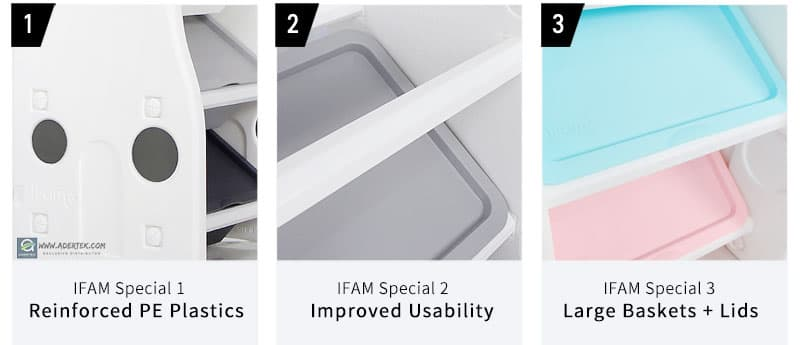Pastel Compact Storage Organizer - reinforced PE, improved usability & larger baskets with lids