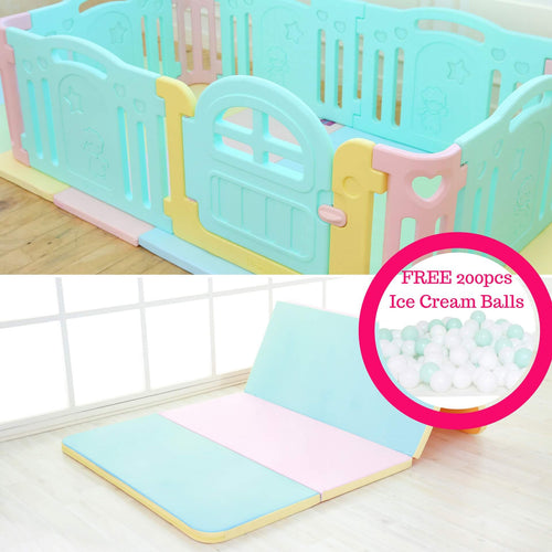 Marshmallow Baby Play Mat + Play Yard Bundle + FREE Delivery & 200pc Ice Cream Balls - Adertek Lifestyle - Adertek Lifestyle