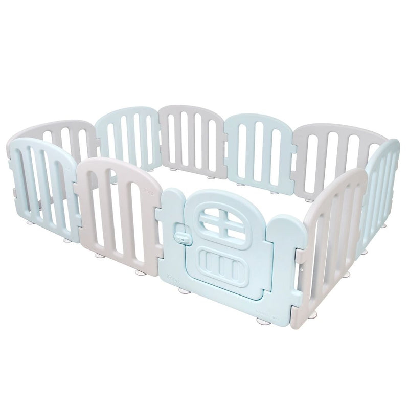 Baby play yard in grey and blue with door and lock.