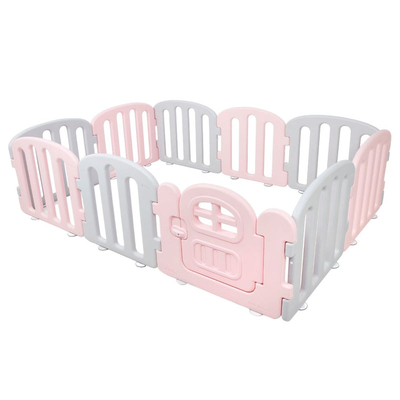 Baby play yard in pink and grey with door and lock.
