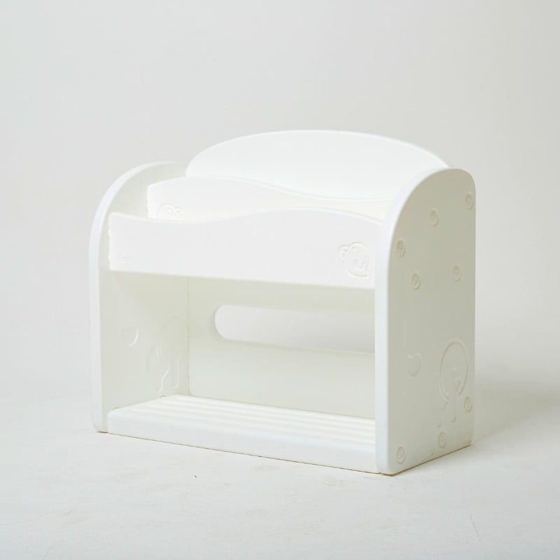 Full white plastic bookshelf for kids with no sharp edges.