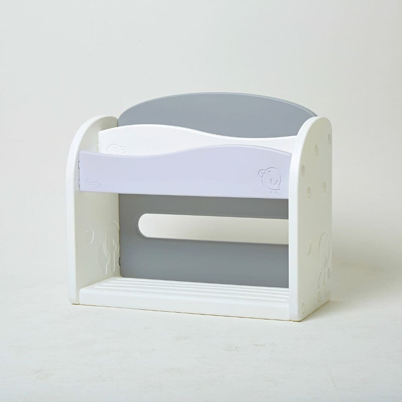 White and grey plastic bookshelf for kids with safe round design.