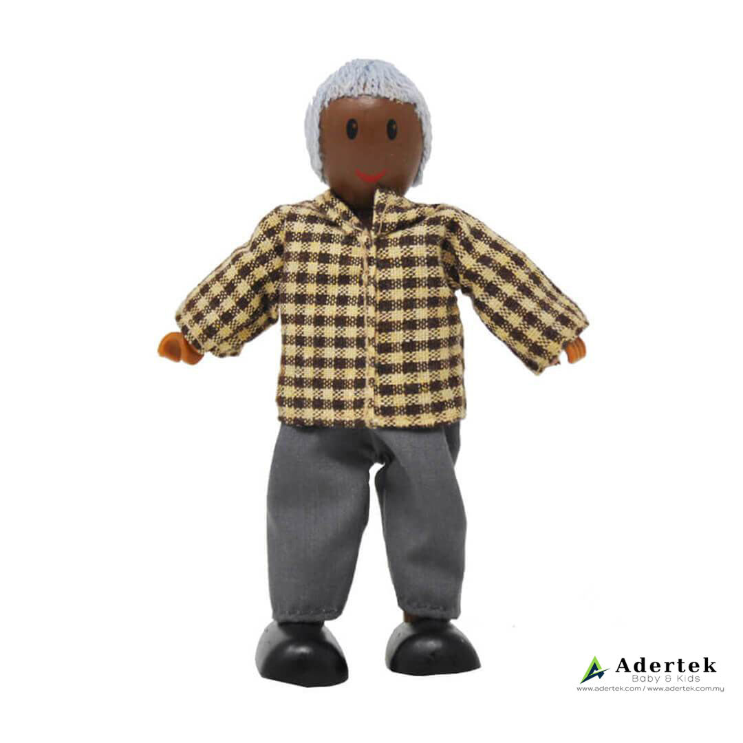 Happy Family Doll Set for Dolls Wooden Playhouse - African Grandfather